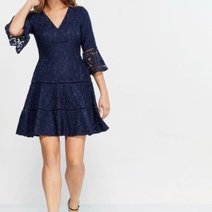 Eliza J NEW Lace Bell Sleeve Fit & Flare Dress 14